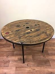 Cable Reel Table by Industrial Chic Against Wall Reclaimed Cable Reel Console Table