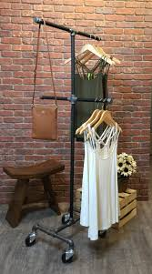 vintage rolling clothing garment rack 4 way retail store fixture
