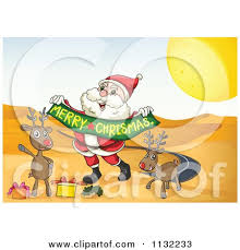 cartoon santa reindeer desert merry christmas