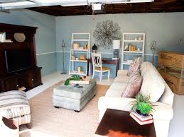 Garage Interior Color Schemes Small Garage Makeover To Living Space With White Fabric Sofa With