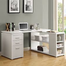 White L Shaped Desks Shop Monarch Specialties Contemporary White L Shaped Desk At Lowes