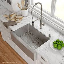 metal kitchen sink and cabinet combo kraus khf200 30 1650 41ss 30 inch stainless steel combo with single bowl 16 apron front farmhouse sink and nola