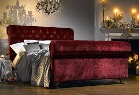 Velvet Sleigh Bed Bespokez Ltd Sleigh Bed Crushed Velvet