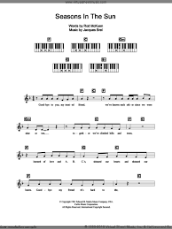 westlife seasons in the sun sheet for piano chords