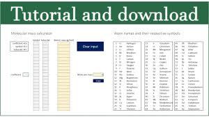 Download Spreadsheet Molecular Mass Weight Calculator Excel Sheet Spreadsheet