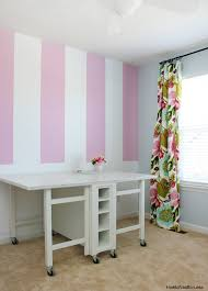 Pink Craft Room - striped craft room walls how to nest for less