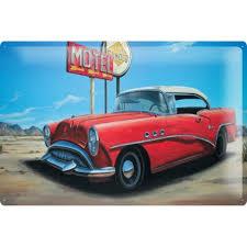 deco route 66 tin sign georg huber metal plate nostalgic deco motel u s route