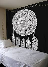 Bedroom Tapestry Wall Hangings Queen Black U0026 White Dream Catcher Mandala Wall Hanging Cotton