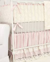 cora vintage pink linen lace crib bedding set by caden lane