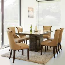 brown and cream marble 120cm dining table and 4 beige chairs