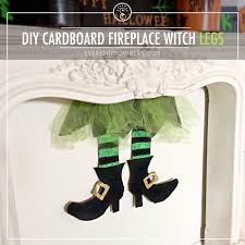 easy cardboard witch legs for the fireplace everyday mom ideas