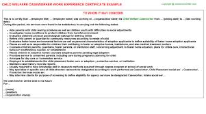 Caseworker Job Description For Resume by Child Welfare Caseworker Work Experience Certificate