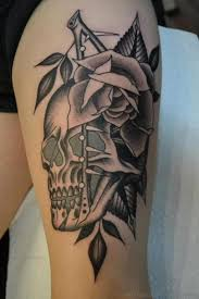 100 skull and roses thigh tattoo 40 awesome tattoos you