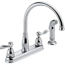 Top Kitchen Faucets by Shop Delta Windemere Chrome 2 Handle Deck Mount High Arc Kitchen