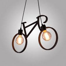 2 Light Pendant 24 W Industrial Style Wrought Iron Bicycle Shape Living Room
