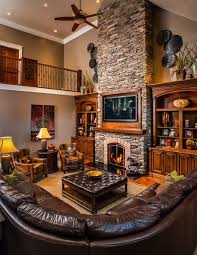 Rustic Hearth Rugs Two Story Stone Fireplace Living Room Farmhouse With Beige Sofa