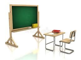 bureau tableau bureau et tableau noir de chaise de salle de classe illustration