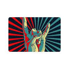 Non Slip Rubber Floor Mats Custom Music Rock N Roll Hand Art Doormat Entrance Mat Floor Mat