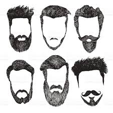 vector set of hipster style haircut beard mustache stock vector