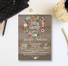 vintage wood baby shower invitation floral wreath baby shower