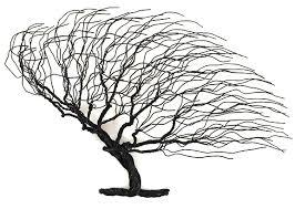 lg windblown wire tree black handcraft house