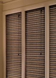 close up view of the provenance woven wood shades closed