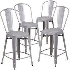 indoor outdoor counter height stool flash furnitur flash furniture 4 pk 24 high silver metal indoor outdoor counter