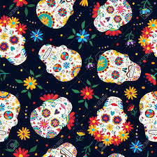 Day The Dead Seamless Pattern With Traditional Mexican Sugar