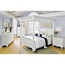 King Size Canopy Bed Frame Bedroom White Lacquer Oak Wood Queen Size Canopy Bed With Crossed