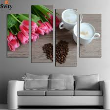 4 panel modern white coffee safflower painting on canvas wall art