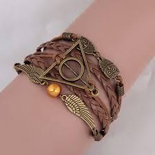 leather bracelet girl images Vintage harry potter deathly hallows wings leather bracelet jpg