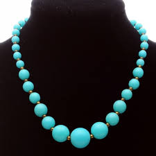 blue beaded necklace images Vintage baby blue plastic bead choker length necklace jpg