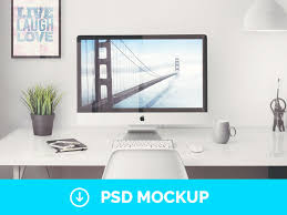bureau free imac in office setting mockup mockupworld