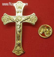 large crucifix large gold coloured crucifix lapel pin badge catholic holy cross