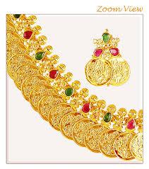 Buy Kasu Mala Lakshmi Ji 22kt Gold Kasu Mala Ajns61825 22k Gold Kasu Mala Is Designed