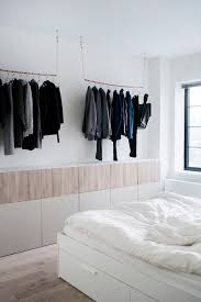 Industrial Bedroom Ideas Ikea Besta Wall Unit Copper Pipe Hanging Clothes Rack