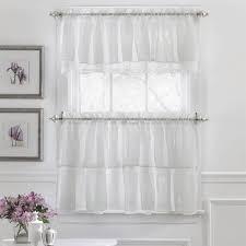 Sheer Ruffled Curtains White 24 Shabby Chic Semi Sheer Ruffled Tier Kitchen