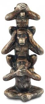 three wise monkeys tower bronze ornament