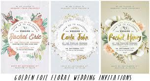 floral wedding invitations golden foil floral wedding invitations bundle free