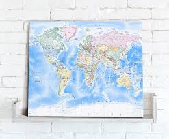 World Map Canvas Map Canvas Political World Map Traditional From Love Maps On