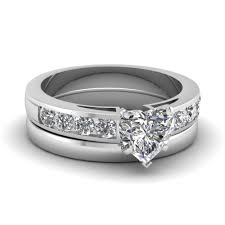 heart shaped wedding rings heart shaped channel diamond ring with plain band in 14k white