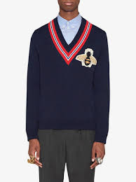 sweater with gucci wool sweater with bee appliqué 980 buy ss18