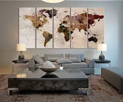 Livingroom Art Large Canvas Print Rustic World Map Large Wall Art World Map Art