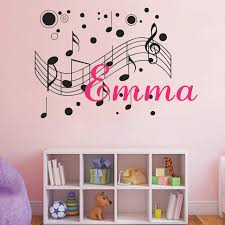 musical notes customized name monogram wall decal boys girls