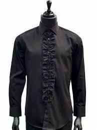 giovanni mens black cotton ruffled dress formal tuxedo trendy slim