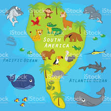 Soth America Map by Map Of The South America With Animals Stock Vector Art 505996828