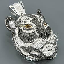 custom necklace pendant custom 10k gold diamond tiger pendant necklace 16 78ct