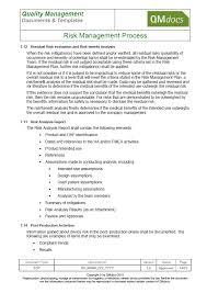 manufacturing risk assessment template risk management process sop