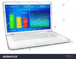 webmaster website traffic reporting data on laptop stock vector 584720701
