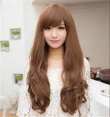 waivy korean hair style cheap hair wigs synthetic curly wavy korean wigs bangs heat
